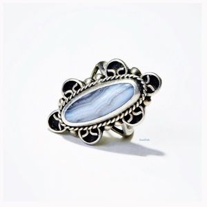 VINTAGE, 925 Sterling Silver Blue Lace Agate Ring